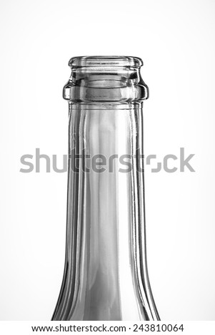 The neck of an empty bottle of transparent glass - stock photo