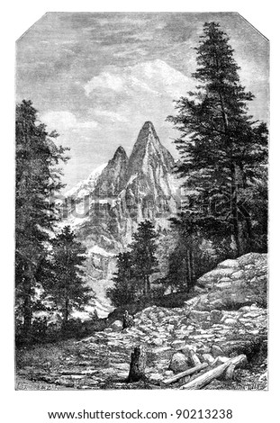 The needle of the Dru and the Aiguille Verte, in front of Montanvert .- Drawing A. Bar, after a photograph of Mr. Quetier, vintage engraved illustration. Magasin Pittoresque 1875. - stock photo