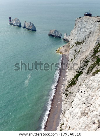 The Needles Isle of Wight landmark and tourist attraction by Alum Bay - stock photo