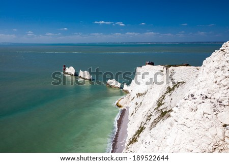 The Needles rock formation on the Isle Of Wight England UK Europe - stock photo