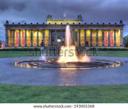 The neoclassical Altes Museum in Berlin, and the Lustgarten (Pleasure Gardens). - stock photo