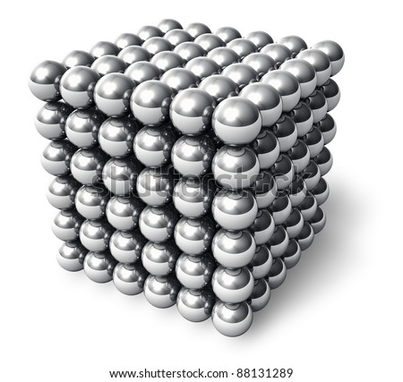 The Neocube - neodymium magnetic toy isolated on white background - stock photo