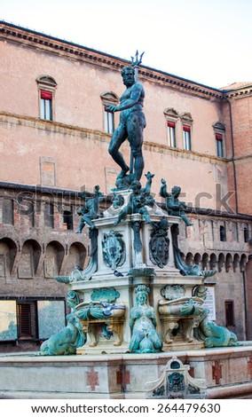 The Neptune Fountain in Piazza del Nettuno. Bologna, Italy - stock photo
