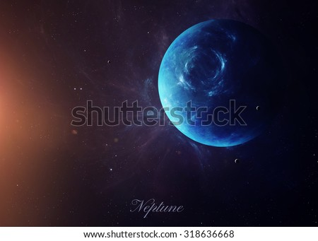 The Neptune with moons shot from space showing all they beauty. Extremely detailed image, including elements furnished by NASA. Other orientations and planets available. - stock photo