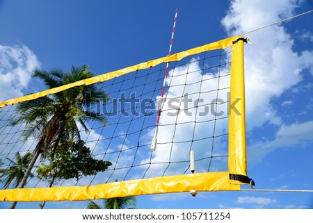 The net of beach volleyball have blue sky to be background - stock photo