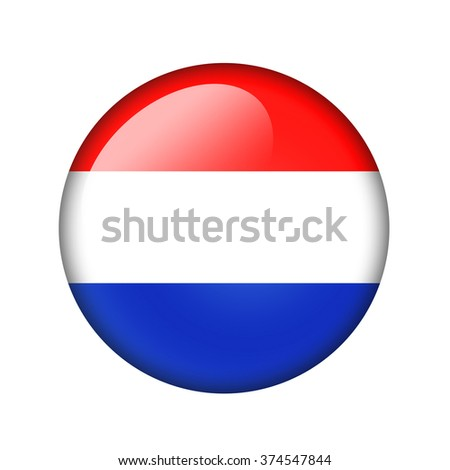 The Netherlands flag. Round glossy icon. Isolated on white background. - stock photo