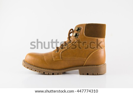 The new brown leather shoes - stock photo