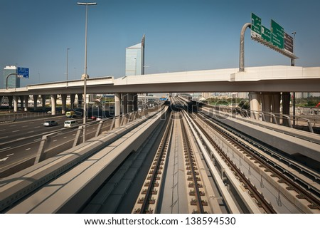 The new Dubai Metro line - stock photo