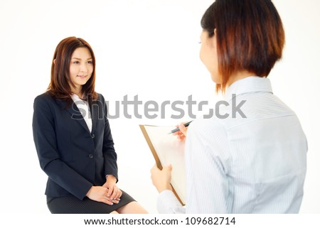 The new employee who receives an interview - stock photo