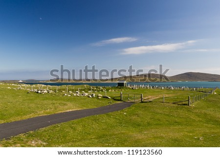 The new graveyard in Berneray (Outer Hebrides) - stock photo