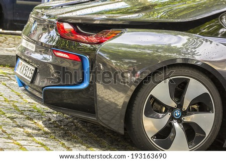 The new hybrid vehicle, the BMW I8, found on the streets of Bamberg, Germany (Sunday, 11.05.2014) - stock photo