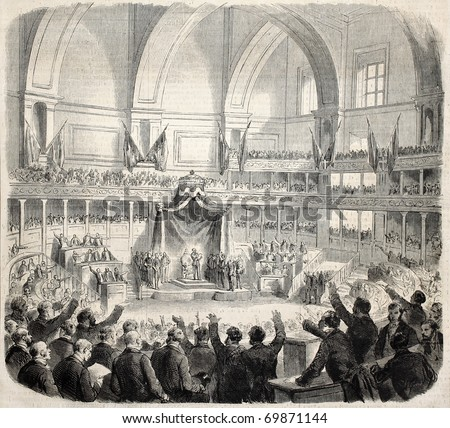 The new Italian Parliament opening by Victor Emmanuel. Original, from drawing of Janet-Lange after sketch of Giacomelli, published on L'Illustration, Journal Universel, Paris, 1860 - stock photo
