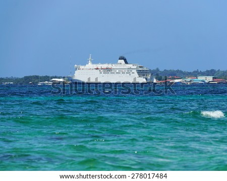 The new large ferry boat in Bocas del Toro offer transportation to Colon City to Isla Colon, Caribbean, Panama