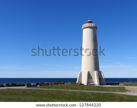 The new lighthouse of Akranes at the west coast of Iceland