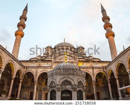 The New Mosque Yeni Valide Camii, an Ottoman Imperial Mosque interior architecture in Istanbul, Turkey, Eminonu district - stock photo