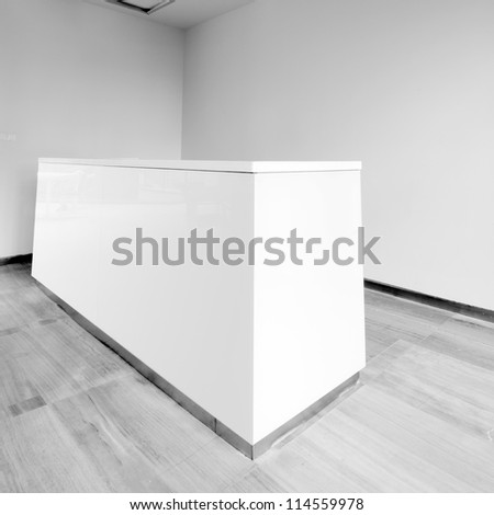 The new office reception area, clean and bright. - stock photo