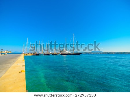the new port of Spetses island in Greece - stock photo