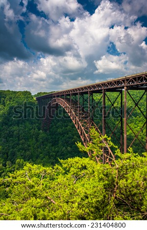 The New River Gorge Bridge, seen from the Canyon Rim Visitor Center Overlook, West Virginia. - stock photo