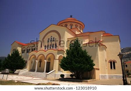 The new Saint Gerasssimos Monastery Kefalonia Greece - stock photo