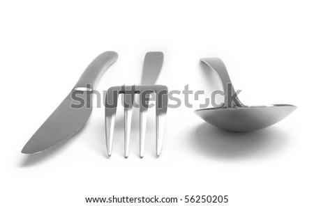 The new silverware isolated on white background - stock photo