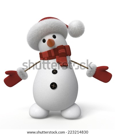 The New Year's snow character congratulates all on a holiday/ 3d snowman - stock photo
