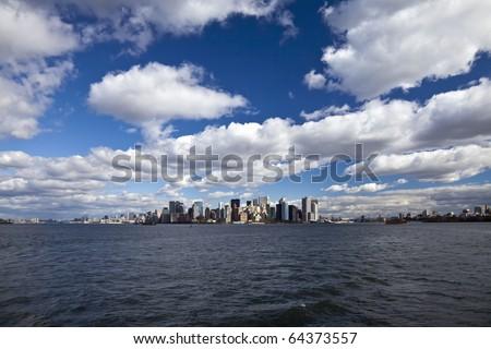 The New York City panorama with Manhattan - stock photo