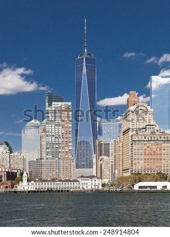 The New York City skyline at afternoon w the Freedom tower 2014 - stock photo