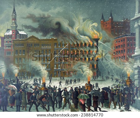 The New-York World Building fire, Printing-House Square, New York City, Nov 15, 1860 - stock photo