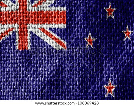 The New Zealand flag painted on fabric surface - stock photo