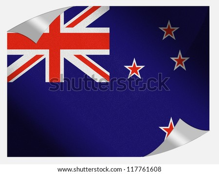 The New Zealand flag painted on  page sheet with folded corners - stock photo