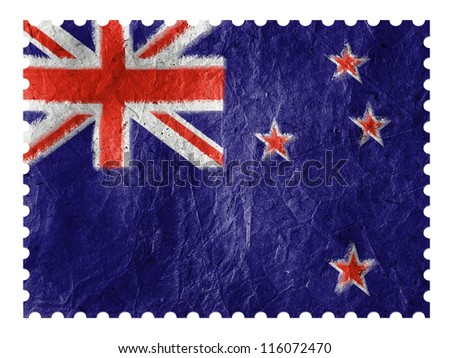 The New Zealand flag painted on  paper postage  stamp - stock photo