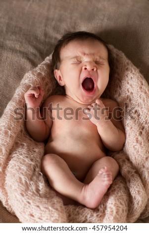 the newborn baby sleeps - stock photo