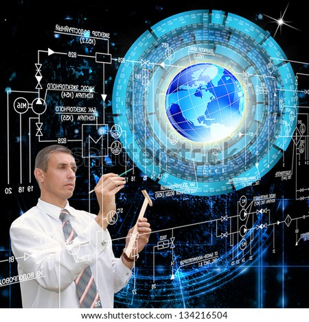 The newest Internet technology.Connection.Cyber safety - stock photo