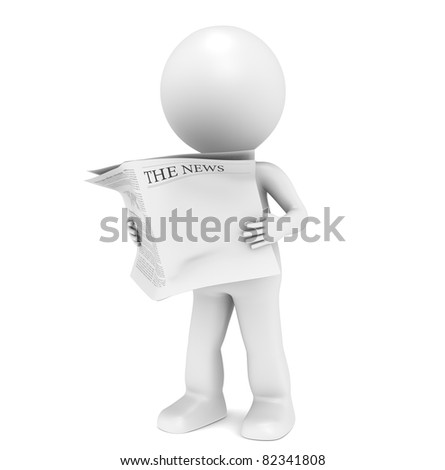 The News. 3D little human character Reading a News Paper. Blank Front Page for Copy Space.
