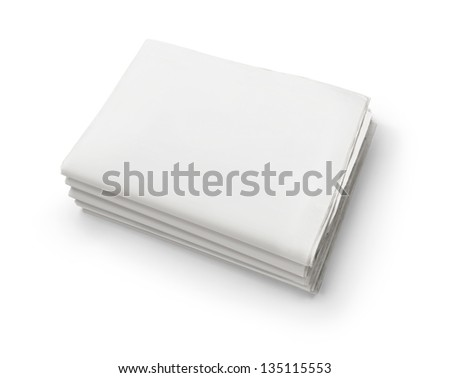 The news, stack of old blank business newspapers isolated on white background with copy space