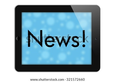 The News, Tablet with words News in Text isolated on a white background