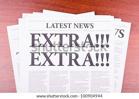The newspaper LATEST NEWS with the headline EXTRA! EXTRA! - stock photo