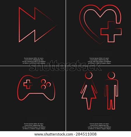 the next track, heart, joystick, toilet icon. Set of four red neon symbols. Raster version. - stock photo