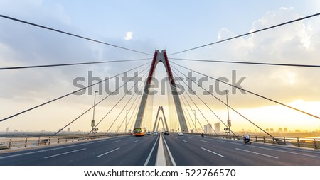 The Nhat Tan Bridge (Vietnam- Japan Friendship Bridge) is a cable-stayed bridge crossing the Red River in Hanoi, It forms part of a new six-lane highway linking Hanoi and Noi Bai International Airport