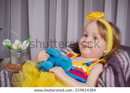 the nice girl in a yellow dress  - stock photo