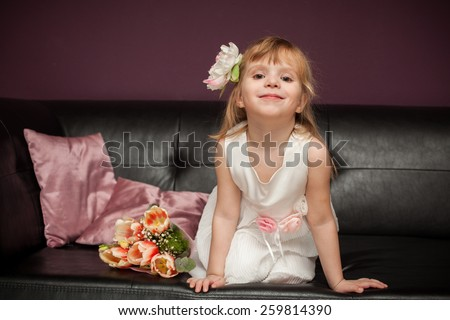 The nice girl with a rabbit  - stock photo