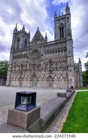 The Nidaros cathedral in Trondheim - stock photo
