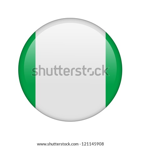 The Nigerian flag in the form of a glossy icon. - stock photo