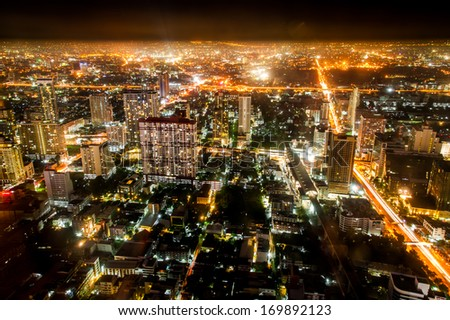 The night cityscape of Bangkok, Thailand from top view