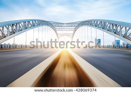 the night of modern bridge, - stock photo