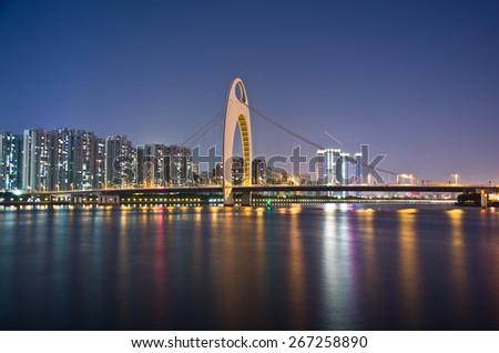The night scenic of Guangzhou. - stock photo