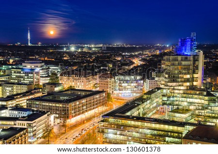 The night skyline of Hannover, Germany - stock photo