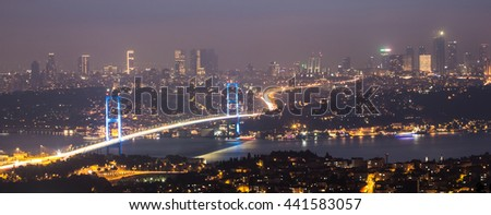 The night view of Bosphorus Bridge