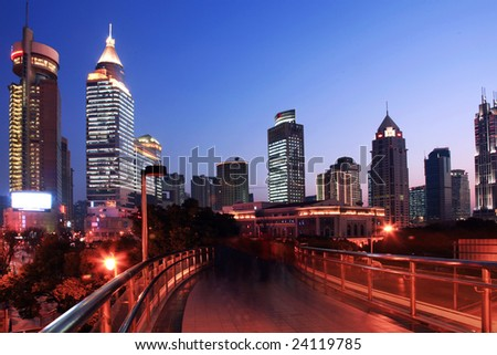 the night view of shanghai china.