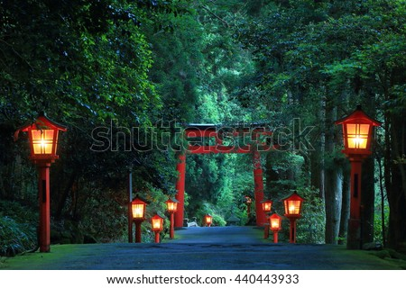 The night view of the approach to the Hakone shrine in a cedar forest. With many red lantern lighted up and a great red torii gate
